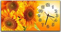 Интерьерные желтые часы с картиной для спальни ReD Подсолнухи 30х60 см