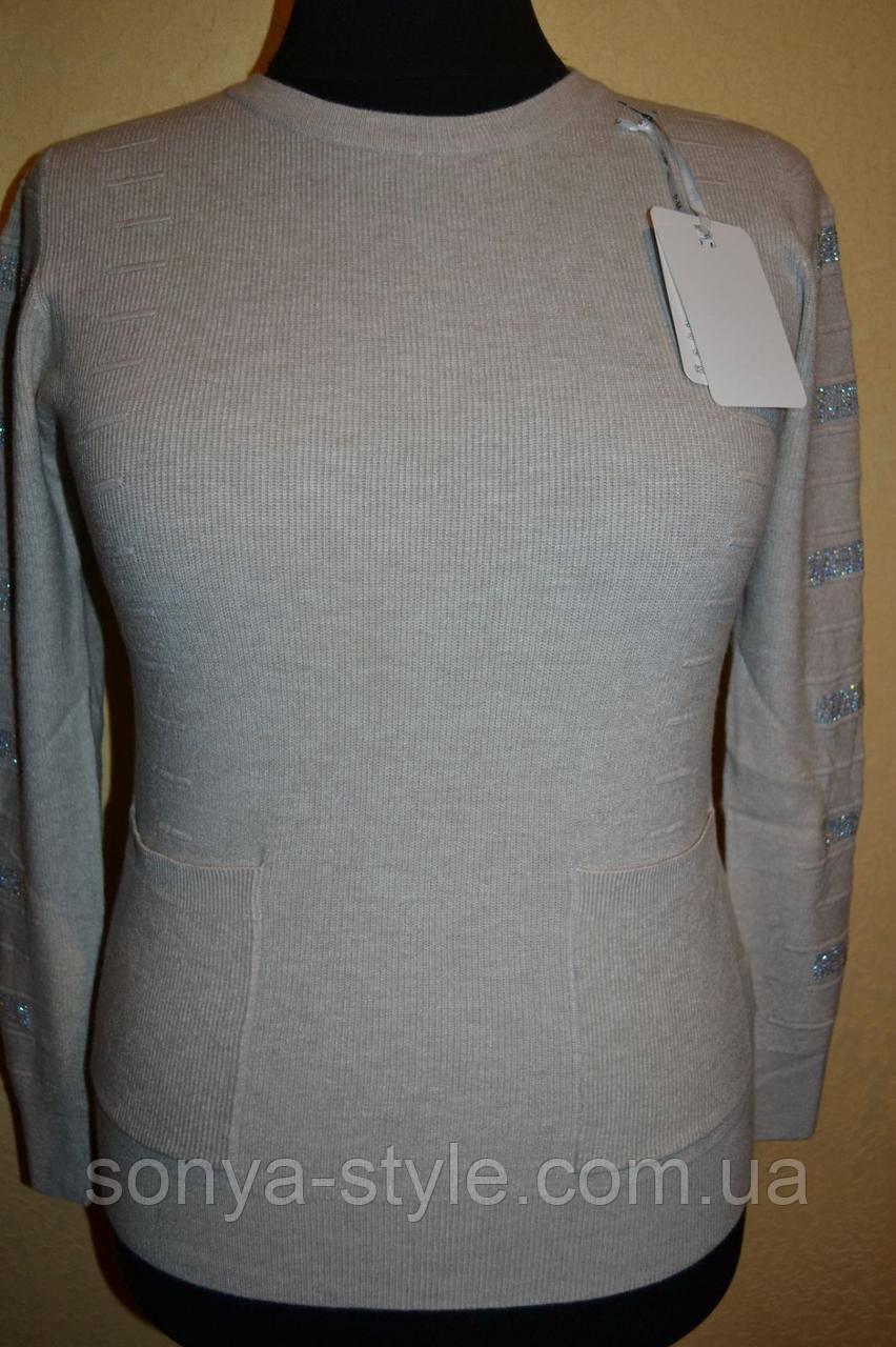 Женская кофта с карманами и стразами на рукавах   больших размеров