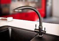 Смеситель кухонный с подключением к фильтру KAHER VENECIA 08 черный