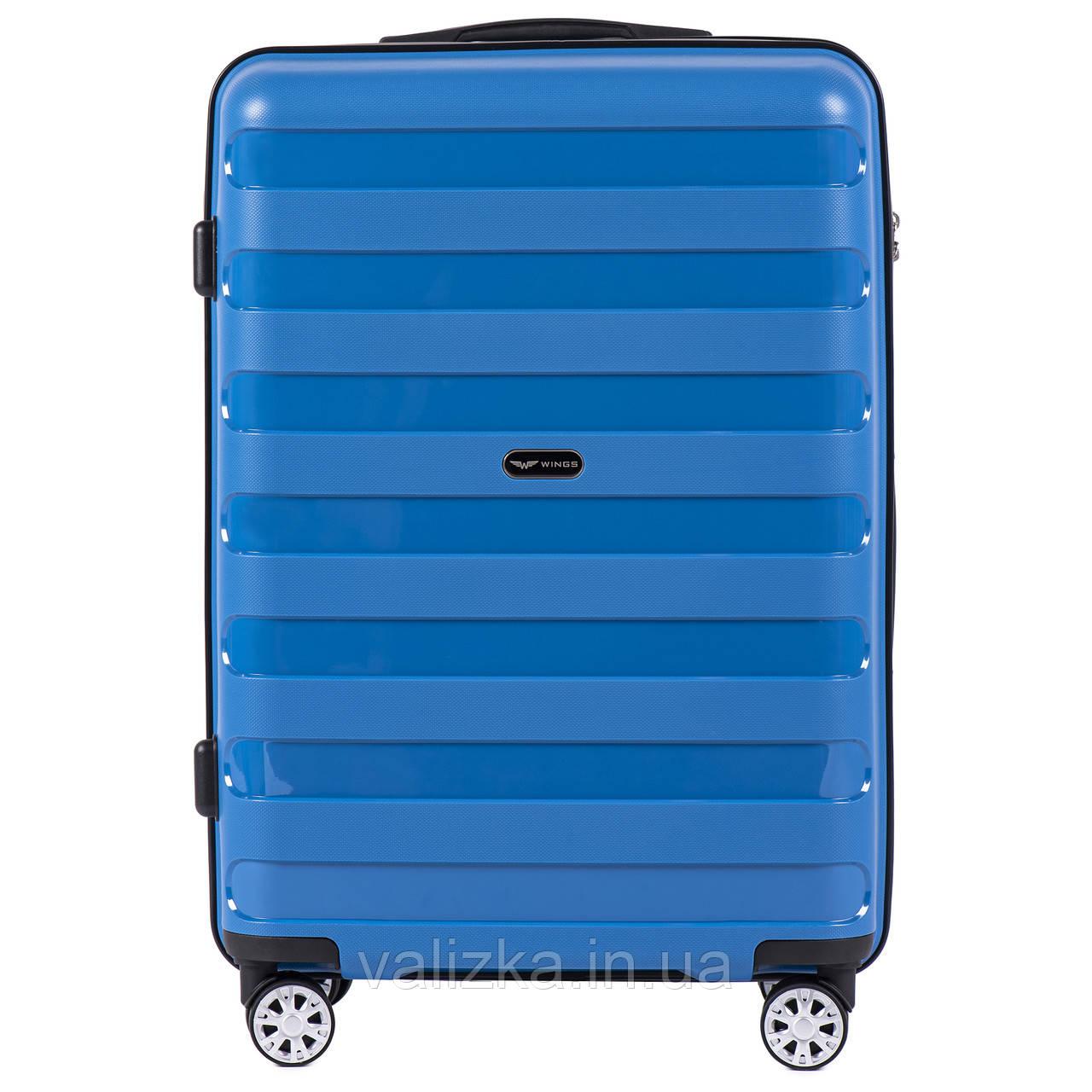 Средний чемодан из полипропилена премиум серии синий Wings PP07