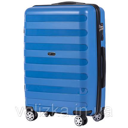 Средний чемодан из полипропилена премиум серии синий Wings PP07, фото 2