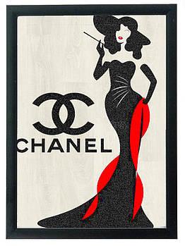"""Постер """"Chanel"""" гравировка на деревянной основе 30Х40 БЕСПЛАТНАЯ ДОСТАВКА"""