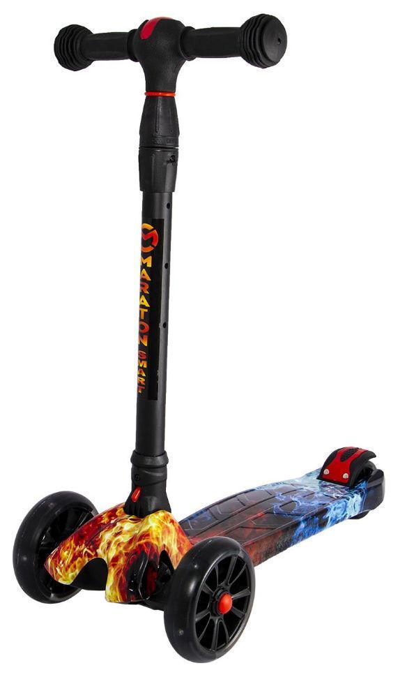 Детский Самокат scooter smart Maraton - самокат со светящимися колесами SMART Print Огонь и Лед