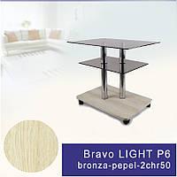 Стол журнальный стеклянный прямоугольный Commus Bravo Light P6 bronza-pepel-2chr50
