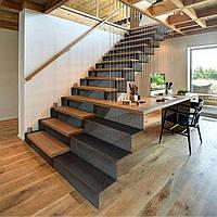 Металлические лестницы ступеньки из дерева, фото 1