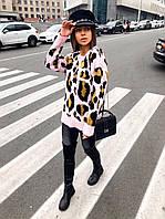 Женский вязанный свитер в леопардовый принт