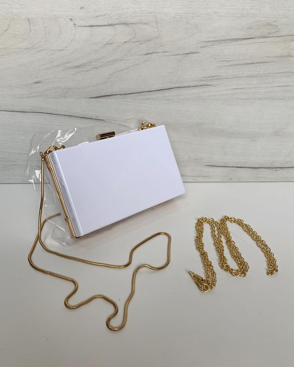 Клатч с цепочкой на плечо (0464) Белый
