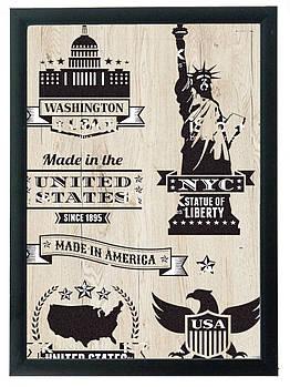 """Постер """"USA"""" гравировка на деревянной основе 30Х40 БЕСПЛАТНАЯ ДОСТАВКА"""