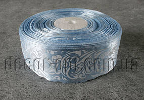 Лента атласная голубая с орнаментом 4,0 см 36 ярд