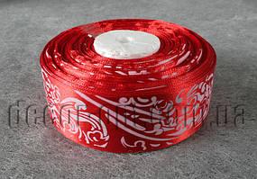 Лента атласная красная с орнаментом 4,0 см 36 ярд