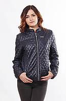 Стильная стёганная женская  куртка синего цвета больших размеров с 48 по 68 размер