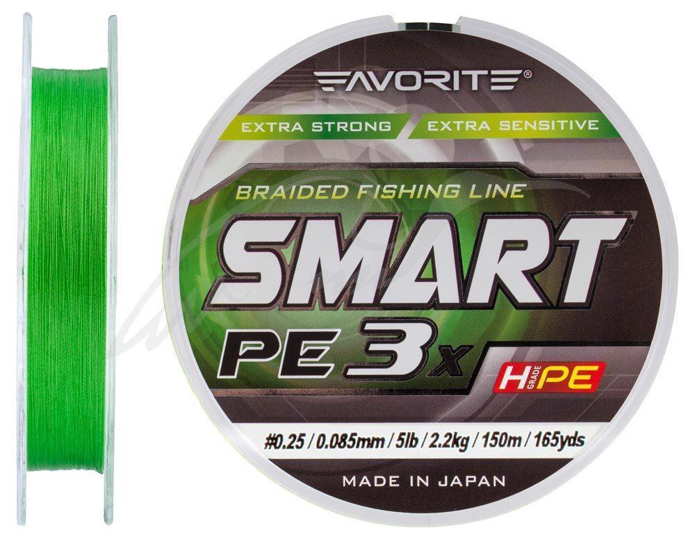 Шнур Favorite Smart PE 3x 150м (l.green) #0.25/0.085mm 5lb/2.2kg