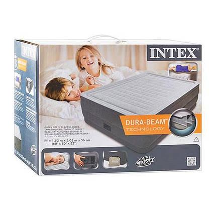 Надувная кровать Intex 64418 152х203х56 см встроенный насос двуспальная серая, фото 2