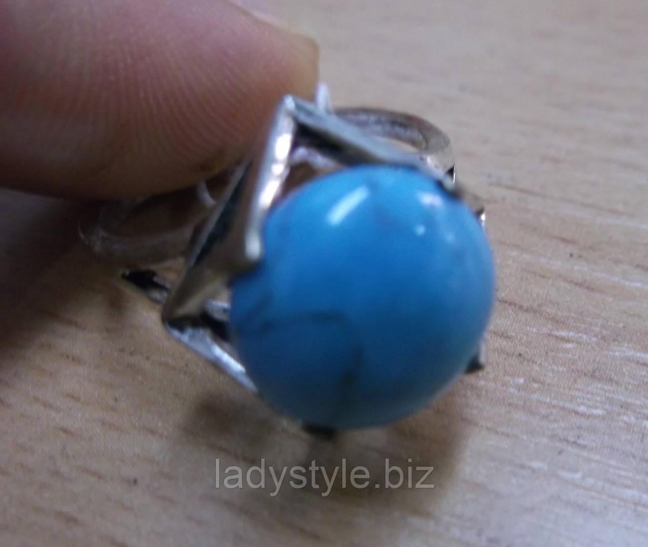 """Кольцо с бирюзой  """"Куб"""", размер 19,18"""