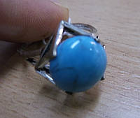 """Кольцо с бирюзой  """"Куб"""", размер 19,18, фото 1"""
