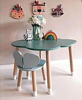 Детский стол и стул (деревянный стульчик мишкаи столик тучка)