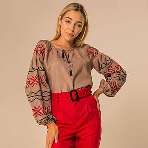 Женская вышитая блуза Ольга на бежевом натуральном льне