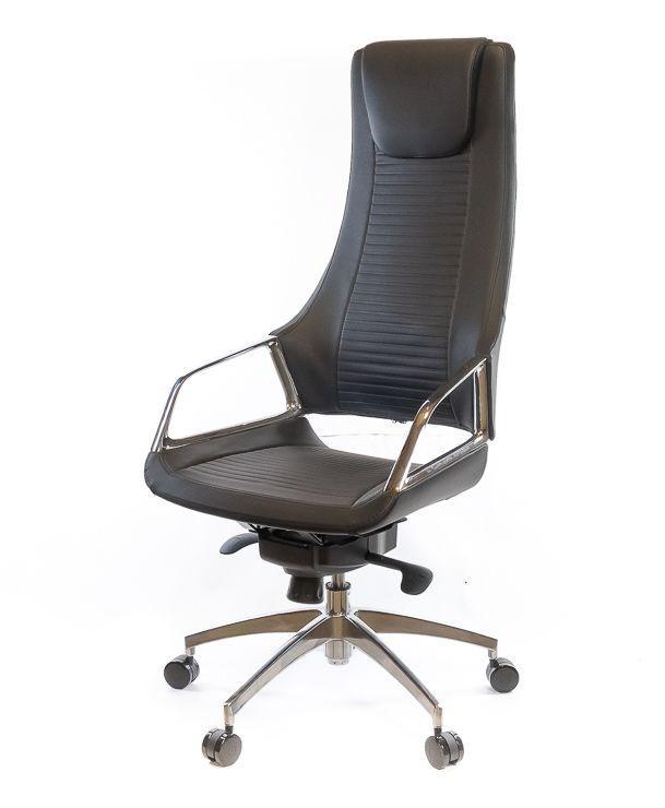Кресло офисное кожаное АКЛАС Бристон AL MB чёрное