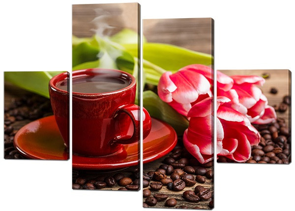 Картина из частей Чашка кофе и тюльпаны Код: W530