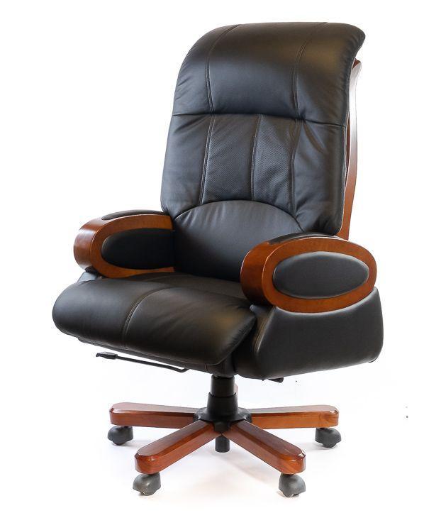 Кресло офисное кожаное АКЛАС Эдисон EX RL чёрное