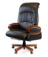Кресло офисное кожаное АКЛАС Эдисон EX RL чёрное, фото 1