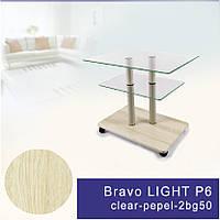 Стеклянный журнальный столик на колесиках прямоугольный Commus Bravo Light P6 clear-pepel-2bg50