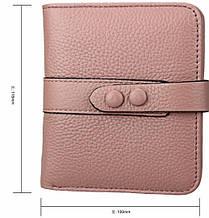 Маленький кошелек узкий клапан застежка 2 кнопки / натуральная кожа (10217) Розовый