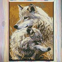 """Алмазная вышивка на холсте с подрамником, Волки """"Верность"""" 30*40 см, в подарочной коробке"""