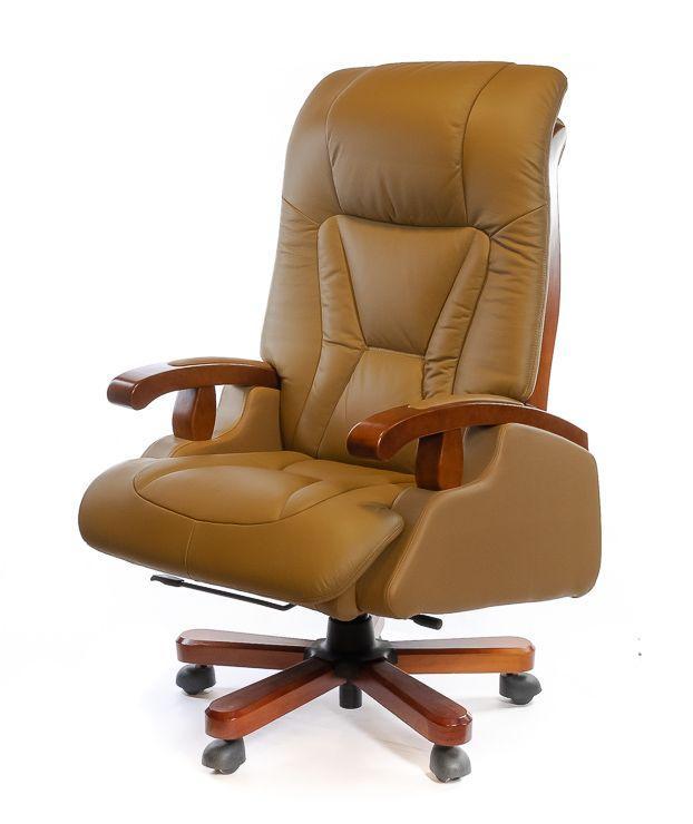Кресло офисное кожаное АКЛАС Деваро EX RL бежевое