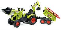 Дитячий педальний трактор з причепом і ковшем Falk Claas AXOS 1010WH для дітей, фото 1