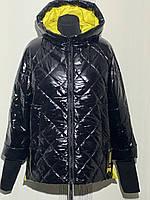 Женская, модная, лаковая, весенняя куртка со сьемным трикотажным манжетом р- 48, 50-52, 52-54, 54-56