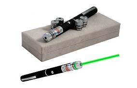 Мощьная лазерная указка Green Laser Pointer 5 насадок 1000 mW Зеленый