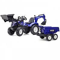 Детский педальный трактор с прицепом и ковшом Falk New Holland 3090W (дитячий педальний трактор)