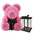 Маленький ведмедик із штучних 3D троянд Teddy Bear de Luxe 25 см Pink, Світло рожевий ведмідь Тедді, фото 2