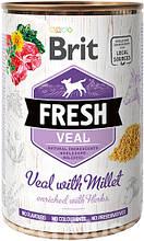 Brit Fresh Dog с телятиной и просом для собак влажный корм 400г