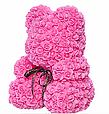 Маленький ведмедик із штучних 3D троянд Teddy Bear de Luxe 25 см Pink, Світло рожевий ведмідь Тедді, фото 4