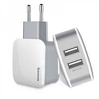 Сетевая зарядка Baseus USB Wall Charger 2xUSB Letour 2.4A White/Gray (ZCL2B-B02)