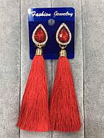 Серьги кисти с красными камнями, бижутерия, модные женские украшения, европейский замок