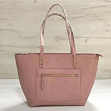 Большая сумка шоппер с высокими ручками на плечо Эко-кожа (0436) Розовый