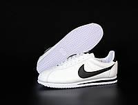 Мужские кроссовки Nike Cortez (Найк Кортез), белые, натуральная кожа, код KD-12071