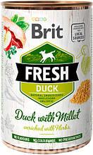 Brit Fresh Dog с уткой и пшеном для собак влажный корм 400г
