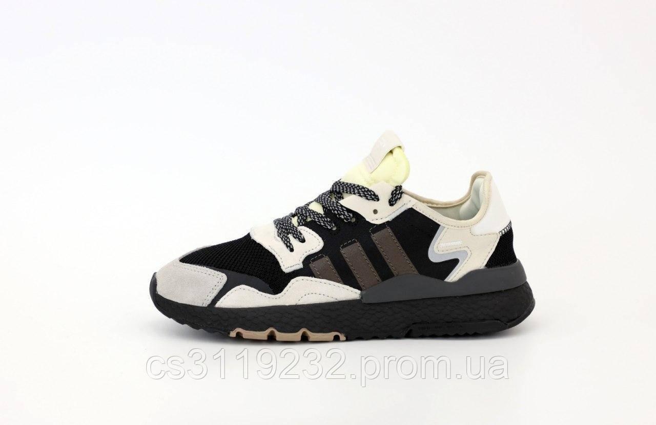 Мужские кроссовки Adidas Nite Jogger Black Beige (черно-белые)