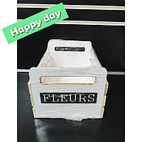 Декоративный деревянный ящик Fleurs белый