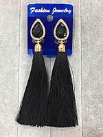 Серьги кисти с черными камнями,бижутерия,модные женские украшения, европейский замок