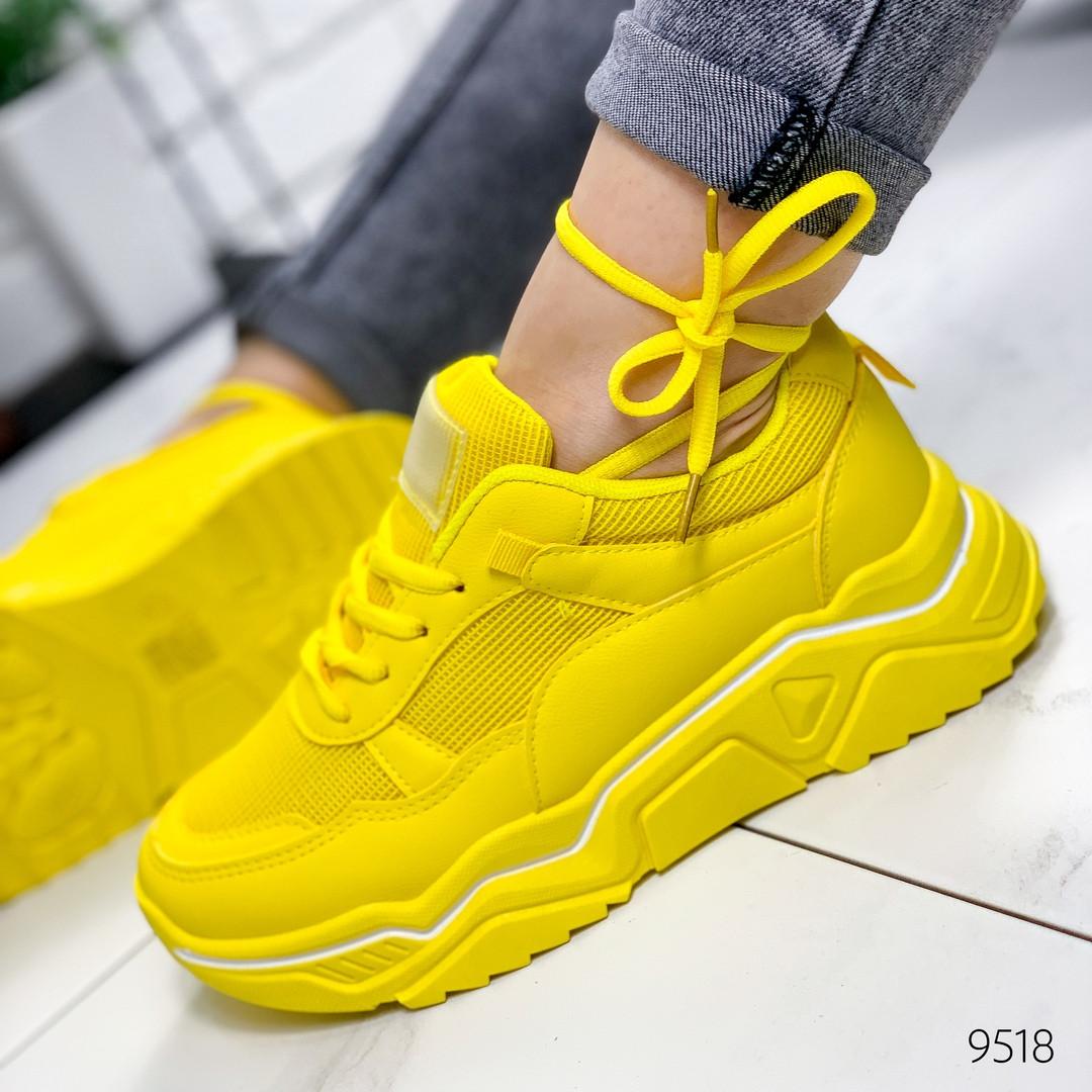 Женские стильные кроссовки  желтые