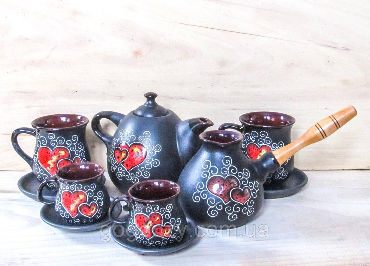 Сервіз чайно-кавовий на 2 особи декор Серце чорний