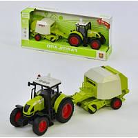Іграшковий інерційний трактор з причепом 900L: розмір 39див (світло + звук)