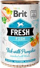 Brit Fresh Dog с рыбой и тыквой для собак  влажный корм 400г