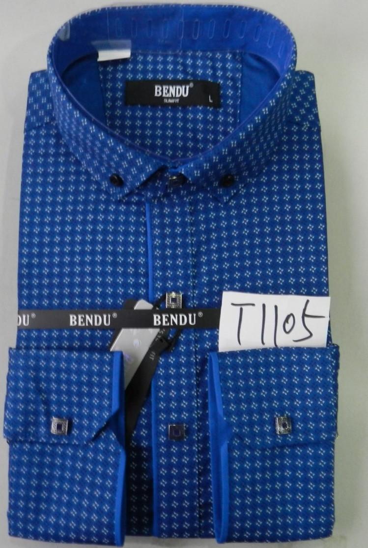 Приталенная молодежная рубашка с узором BENDU Синяя (размеры S, M, L, XL, XXL, XXXL) S