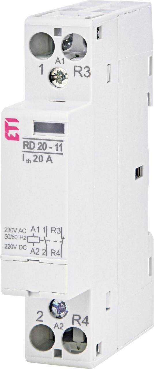 Контактор модульный ETI RD 20-11 20А 230V AC/DC 1NO+1NC 2464006 (модульный, на din-рейку)